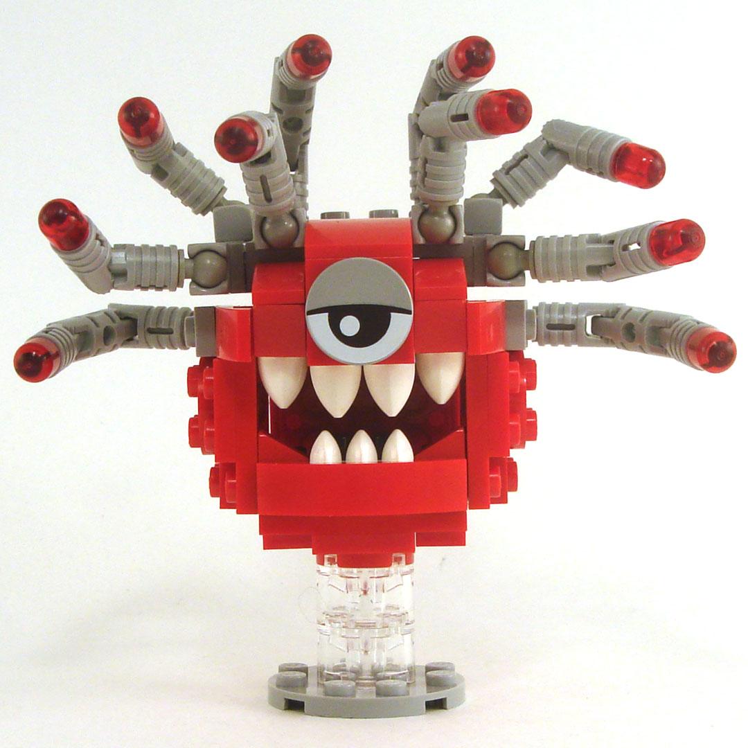 Beholder, Red with Gray Eyestalks, Gray Eyelid