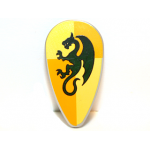 LEGO Minifig Shield - Ovoid with Dark Green Dragon on Light Yellow and Ochre Quarters Background Print