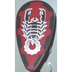 LEGO Minifig Accessory Shield Ovoid with Red, Black, and Silver Scorpion Print