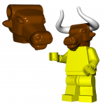 LEGO Minotaur Head by Brick Warriors, Brown