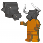 LEGO Minotaur Head by Brick Warriors, Steel Gray
