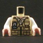 LEGO Torso, White Shiet, Tan Vest, Dinosaur on Reverse