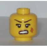 LEGO Head, Female with Dark Brown Thin Eyebrows, Angry Mouth, Bruise on Cheek