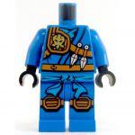 LEGO Blue Keikogi, Armor on Right Shoulder, Knee Pads, Kunai