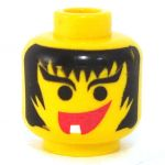 LEGO Head, Messy Black Hair, Smile, Single Tooth