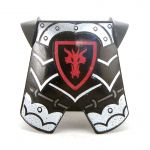 LEGO Breastplate with Leg Protection, Black and Silver with Red Dragon Head