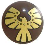 LEGO Shield, Round Convex, Gold Eagle