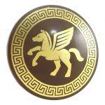 LEGO Shield, Round Convex, Gold Pegasus and Circle Design