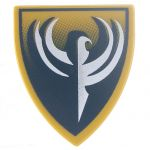 LEGO Minifig Shield - Triangular with Dark Blue and Gold Backgraound, Hawk Emblem