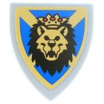 LEGO Shield, Triangular with Lion Head on Blue and Gold Background, Sticker