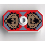 LEGO Minifig Shield Rectangular with Stud, Knights Kingdom Santis Bear Print (Non-Sticker)