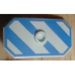 LEGO Rectangular Shield with Stud, Diagonal Blue Stripes