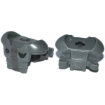 LEGO Futuristic Breastplate with Shoulder Protection and 2 Clips, Silver Stripe Pattern