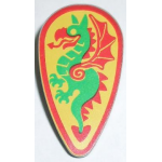 LEGO Minifig, Shield Ovoid with Dragon Green and Red Pattern