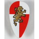 LEGO Ovoid Shield with Gold Lion on Red and White Quarters Background