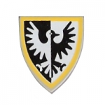 LEGO Minifig Shield - Triangular with Black Falcon and Yellow Border Print