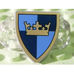 LEGO Minifig Shield - Triangular with Crown on Dark / Medium Blue Quarters Print