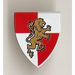 LEGO Minifig Shield - Triangular with Gold Lion on Red/White Quarters Print