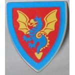 LEGO Minifig Shield - Triangular with Blue Dragon Print