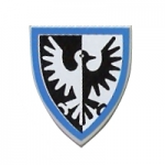 LEGO Minifig Shield - Triangular with Black Falcon and Blue Border Print