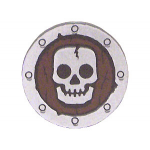 LEGO Minifig Shield - Round Flat with Silver Skull on Dark Red Print