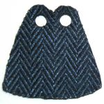 LEGO Custom Cape / Cloak, Blue and Black Herringbone Pattern, Black Inside