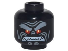 LEGO Head, Black with Red Eyes and Heavy Gray Eyebrows, Angry [CLONE]
