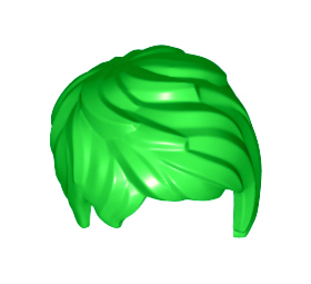 LEGO Hair, Female, Short and Tousled, Side Part, Bright Green