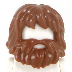 LEGO Hair with Beard and Mouth Hole, Reddish Brown