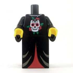LEGO Robe, Black with Skull Emblem, Red Pattern on Lower Half, Black Wizard Sleeves