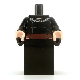 LEGO Black Robes, Brown Belt, Chain Clasp for Cloak, Wizard Sleeves