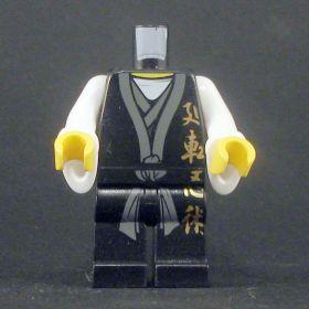 LEGO Black Keikogi, Sleeveless With White Undershirt, Dark Gray Sash, Gold Writing, Wizard Sleeves