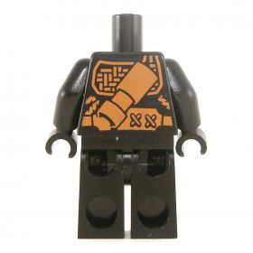 LEGO Black Outfit with Shoulder Armor, Tied Waist, Knee Pads