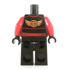 LEGO Black Keikogi with Red Arms, Red Sash and Ties