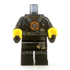 LEGO Black Outfit with Dark Bluish Gray Straps and Belt, Round Emblem, Wizard Sleeves