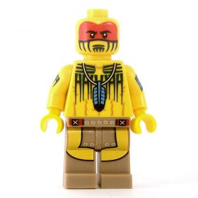 LEGO Bare Chest with Tribal Paint and Feather Necklace, Loincloth and Boots, Complete Figure