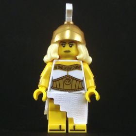 LEGO Robe, Gold Trim and Large Gold Belt, Stepped Skirt, Complete Figure