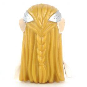 LEGO Hair, Long Light Brown Wavy with Braid, Silver Headband, and Light Flesh Elf Ears