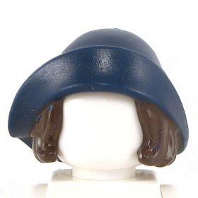 LEGO Hair, Female, Dark Brown Bob Cut, Dark Blue Hat