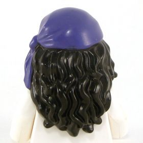 LEGO Hair, Female, Mid-Length with Part over Front of Right Shoulder with Purple Rag Wrap / Bandana