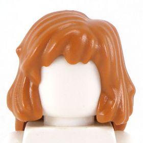 LEGO Hair, Side Part, Mid-Length, Dark Orange