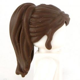 LEGO Hair, Female, Ponytail with Long Bangs, Dark Brown (rubber)