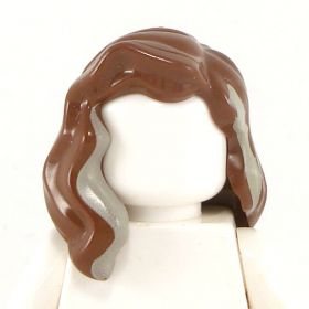 LEGO Hair, Female, Mid-Length with Part over Right Shoulder, Reddish Brown with Tan Highlights