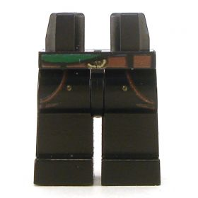 LEGO Legs, Black Jeans with Brown Belt, Green Shirt Overhang