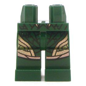 LEGO Legs, Dark Green with Gold Pattern
