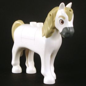 LEGO Riding Horse, white with tan mane and gray muzzle, v3