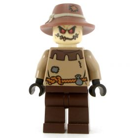 LEGO Scarecrow, Brown Patched Shirt and Hat, Stitched Head