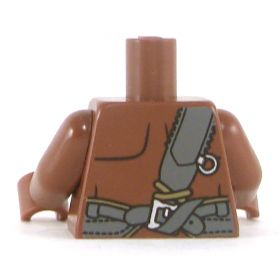 LEGO Torso, Dark Flesh Bare Chest with Dark Tan and Dark Bluish Gray Belts
