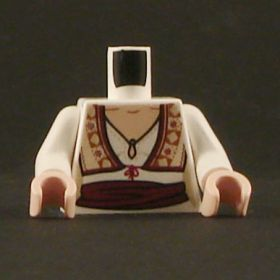 LEGO Torso, Female, White Blouse, Fancy Vest, Red Sash Around Waist