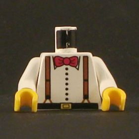 LEGO Torso, White Buttoned Shirt with Brown Suspenders